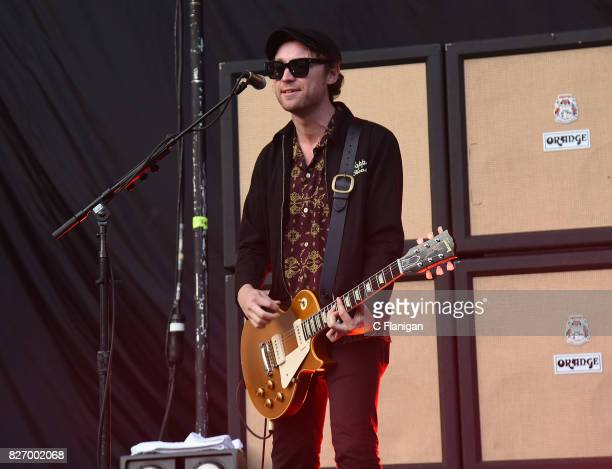 Johnny Bond of Catfish and the Bottlemen performs during the 2017 'Radio Revolution' Tour at OaklandAlameda County Coliseum on August 5 2017 in...