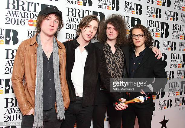 Johnny Bond Ryan Van McCann Bob Hall and Benji Blakeway from Catfish and the Bottlemen poses in the winners room at the BRIT Awards 2016 at The O2...