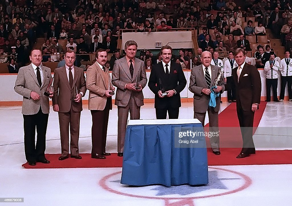 <a gi-track='captionPersonalityLinkClicked' href=/galleries/search?phrase=Johnny+Bower&family=editorial&specificpeople=239053 ng-click='$event.stopPropagation()'>Johnny Bower</a>, Dick Duff, Ron Ellis, Allen Stanley, Norm Ullman and King Clancy of the Toronto Maple Leafs are presented with awards from NHL President John Zeigler prior to a game against the New York Rangers at Maple Leaf Gardens in Toronto, Ontario, Canada on February 29, 1984.