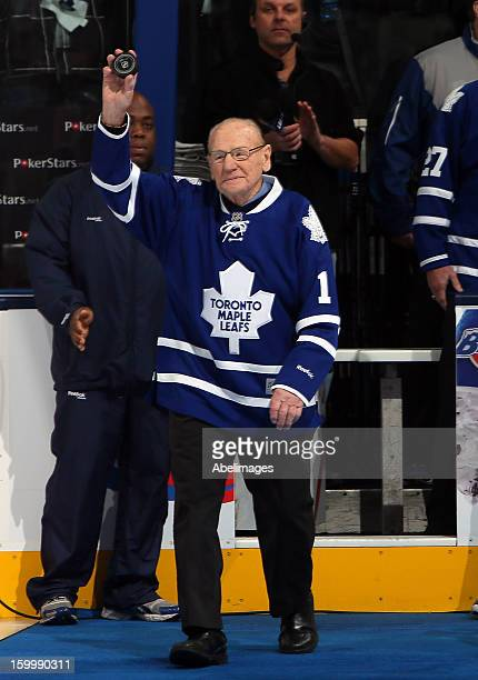 Johnny Bower walks onto the ice before NHL action at the Air Canada Centre January 21 2013 in Toronto Ontario Canada
