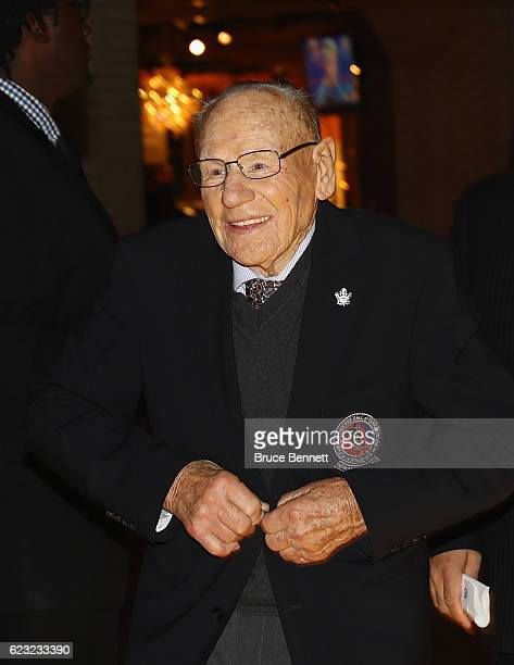 Johnny Bower walks the red carpet prior to the 2016 Hockey Hall of Fame induction ceremony at the Hockey Hall Of Fame Museum on November 14 2016 in...