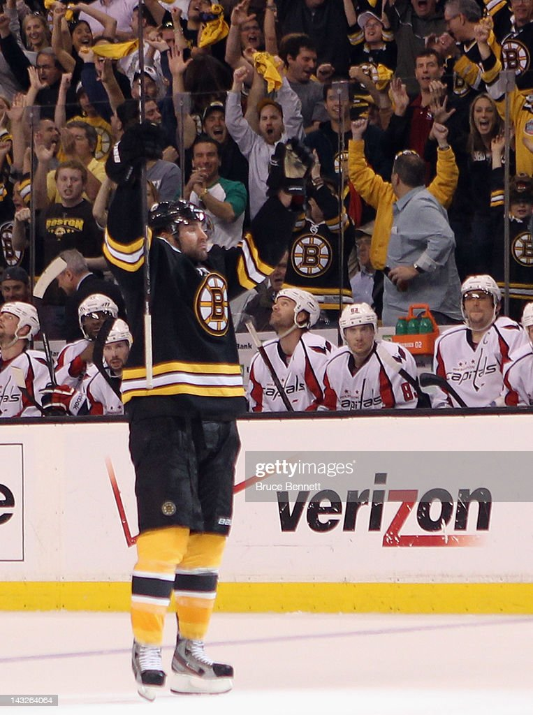 <a gi-track='captionPersonalityLinkClicked' href=/galleries/search?phrase=Johnny+Boychuk&family=editorial&specificpeople=2125695 ng-click='$event.stopPropagation()'>Johnny Boychuk</a> #55 of the Boston Bruins celebrates his goal against the Washington Capitals in Game Five of the Eastern Conference Quarterfinals during the 2012 NHL Stanley Cup Playoffs at TD Garden on April 21, 2012 in Boston, Massachusetts. The Capitals defeated the Bruins 4-3.
