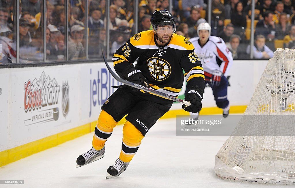 Johnny Boychuk #55 of the Boston Bruins skates against the Washington Capitals in Game Seven of the Eastern Conference Quarterfinals during the 2012 NHL Stanley Cup Playoffs at TD Garden on April 25, 2012 in Boston, Massachusetts.