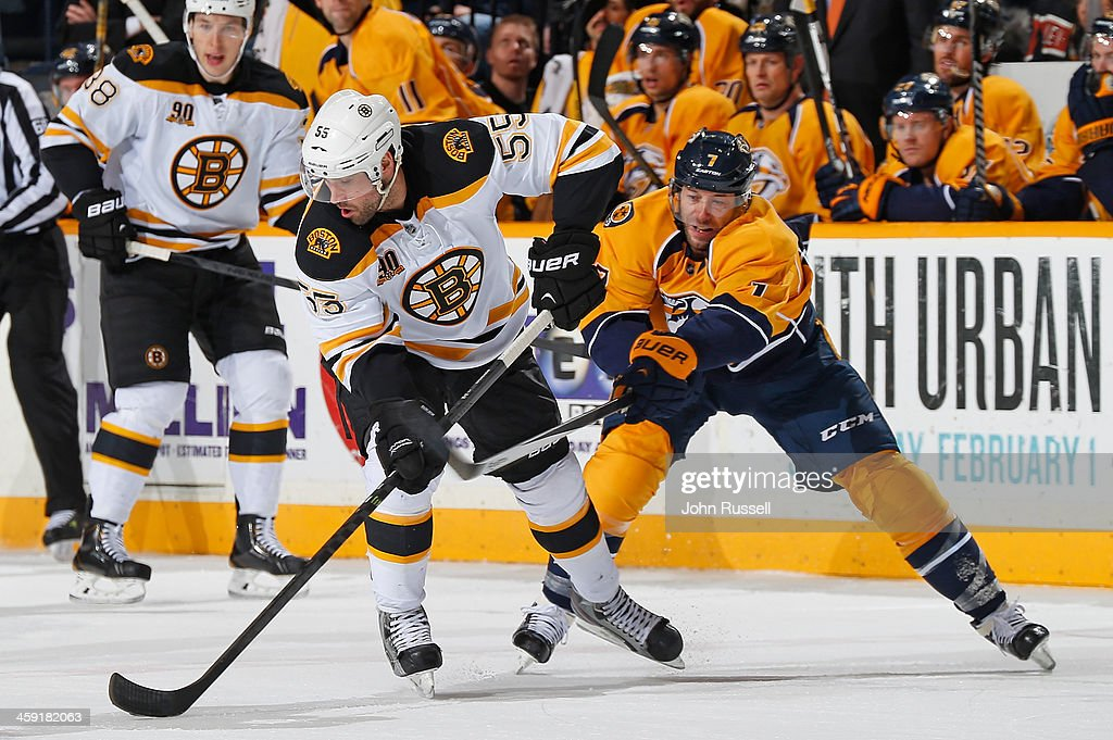 <a gi-track='captionPersonalityLinkClicked' href=/galleries/search?phrase=Johnny+Boychuk&family=editorial&specificpeople=2125695 ng-click='$event.stopPropagation()'>Johnny Boychuk</a> #55 of the Boston Bruins skates away from <a gi-track='captionPersonalityLinkClicked' href=/galleries/search?phrase=Matt+Cullen&family=editorial&specificpeople=536122 ng-click='$event.stopPropagation()'>Matt Cullen</a> #7 of the Nashville Predators at Bridgestone Arena on December 23, 2013 in Nashville, Tennessee.