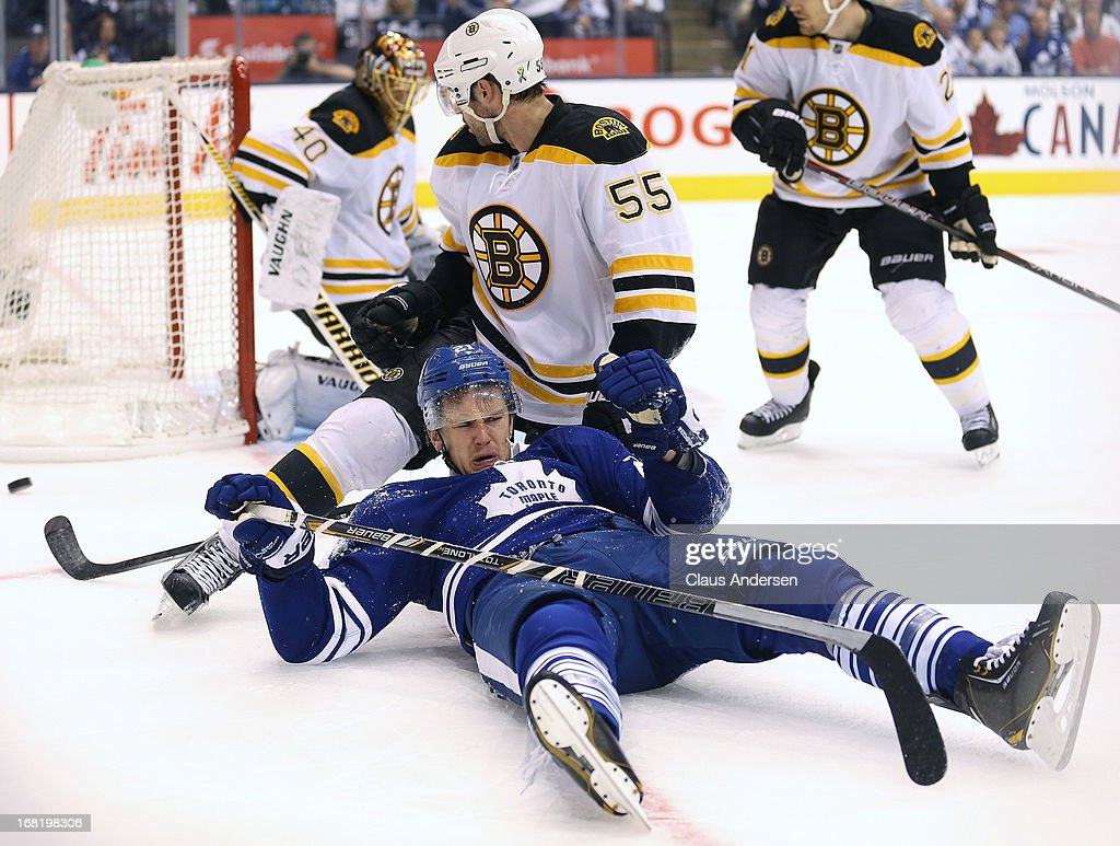 <a gi-track='captionPersonalityLinkClicked' href=/galleries/search?phrase=Johnny+Boychuk&family=editorial&specificpeople=2125695 ng-click='$event.stopPropagation()'>Johnny Boychuk</a> #55 of the Boston Bruins takes down James van Riemdyk #21 of the Toronto Maple Leafs in Game Three of the Eastern Conference Quarterfinals during the 2013 Stanley Cup Playoffs on May 6, 2013 at the Air Canada Centre in Toronto, Ontario, Canada. The Bruins defeated the Leafs 5-2 to take a 2-1 series lead.