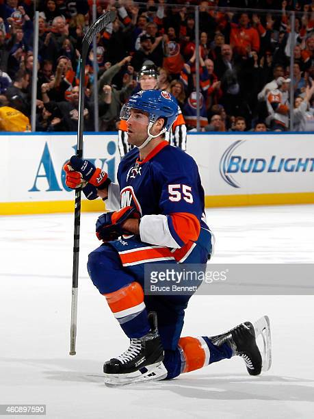 Johnny Boychuk of the New York Islanders celebrates after scoring the gamewinning goal in overtime against the Washington Capitals during a game at...