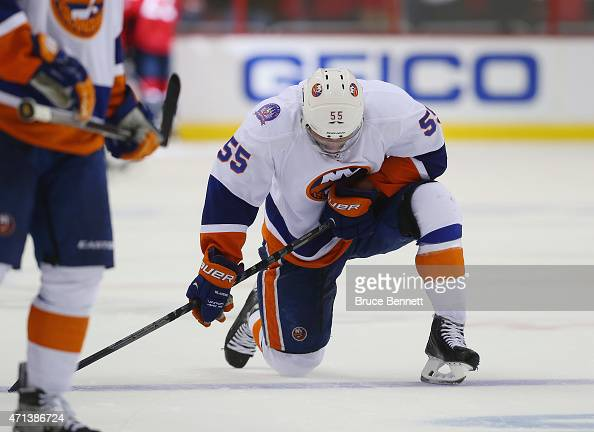 Johnny Boychuk of the New York Islanders reacts at the end of a 21 loss to the Washington Capitals in Game Seven of the Eastern Conference...