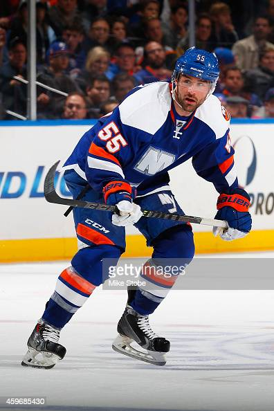 Johnny Boychuk of the New York Islanders skates against the Washington Capitals at Nassau Veterans Memorial Coliseum on November 26 2014 in Uniondale...