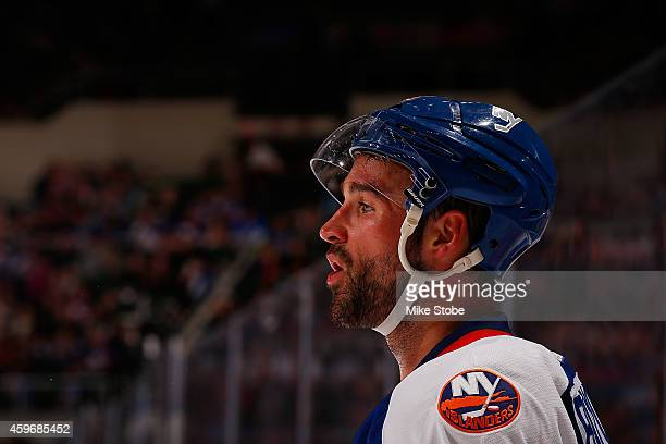 Johnny Boychuk of the New York Islanders skates against the Washington Capitals at Nassau Veterans Memorial Coliseum on November 26 2014 in Uniondale...