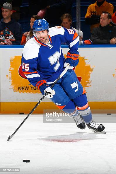 Johnny Boychuk of the New York Islanders skates during warmups prior to their game against the San Jose Sharks at Nassau Veterans Memorial Coliseum...