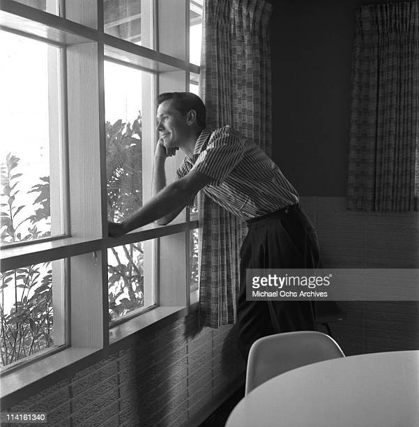 Johnny Carson host of The Johnny Carson Show on CBS at home on July 5 1956 in Los Angeles California