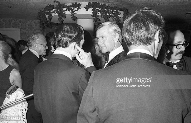 Johnny Carson host of the Tonight Show attends a party after taping the 10th anniversary show on September 30 1972 in Los Angeles California