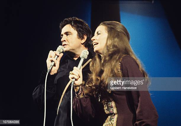 Johnny Cash and June Carter perform on stage at Concertgebouw in 1972 in Amsterdam Netherlands