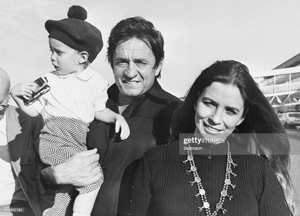 Johnny Cash, his wife June Carter and their son John arrive for the filming of 'Following the Footsteps of Jesus.' The film will feature Cash and his wife singing against the background of Christian holy sites.