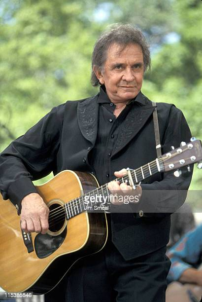 Johnny Cash of The Highwaymen during The Highwaymen In Concert At Central Park SummerStage 1993 at Central Park SummerStage in New York NY United...