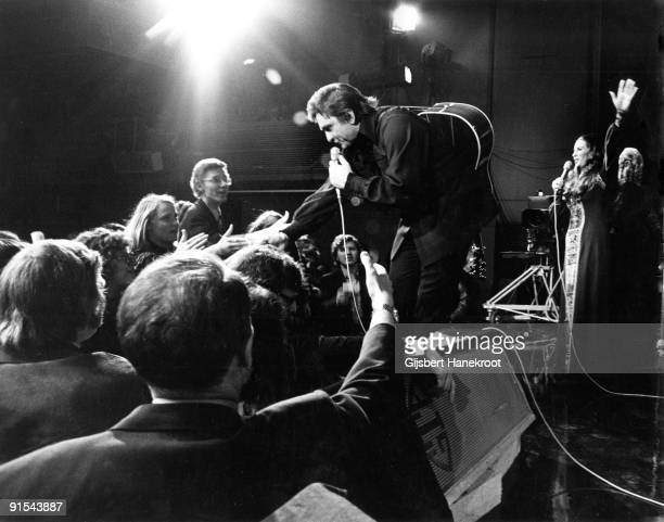 Johnny Cash performs live with June Carter in Amsterdam Holland in 1972