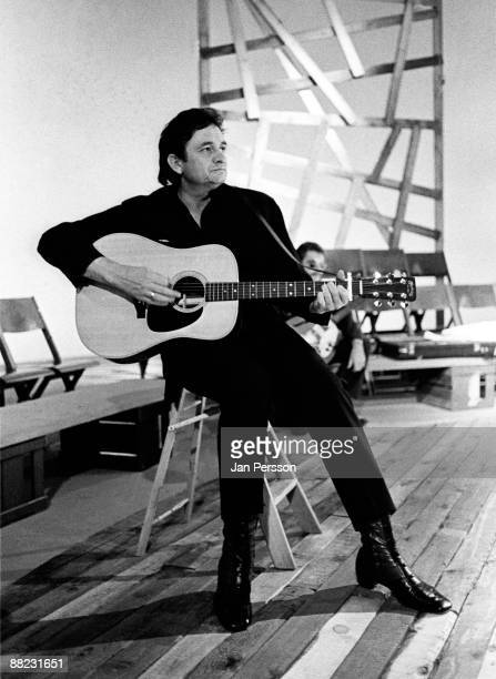 Johnny Cash performs on a TV show in Copenhagen in September 1971