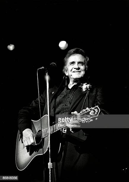 Johnny Cash performs on stage at The Ritz in New York City on December 16 1992