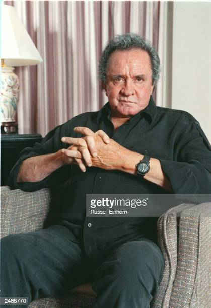 Johnny Cash poses for a picture November 14 1996 in San Francisco CA As an emeritus member of both the Country Music and Rock Roll Halls of Fame and...