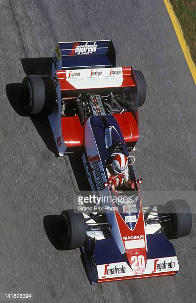 Johnny Cecotto of Venezuela drives the Toleman Group Motorsport Toleman TG183B Hart S4turbo during practice for the Brazilian Grand Prix on 24th...