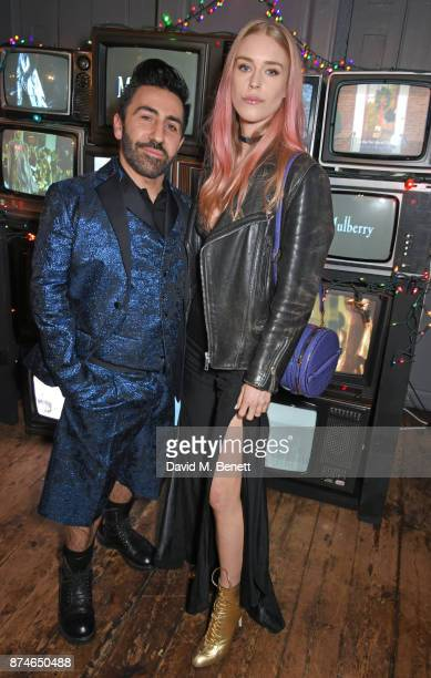 Johnny Coca Mulberry's Creative Director and Mary Charteris attend Mulberry's 'It's Not Quite Christmas' party on November 15 2017 in London England