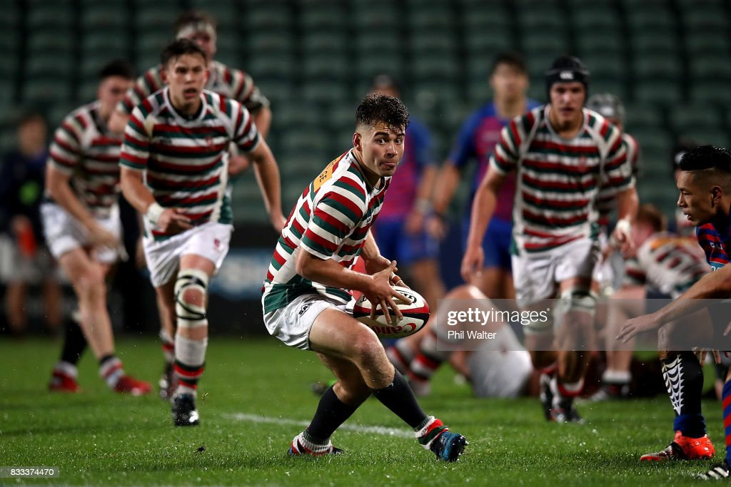 Johnny Cooper of North Harbour passes the North Harbour First XV 1A Final between Westlake Boys Huigh School and Rosmini College at QBE Stadium on August 17, 2017 in Auckland, New Zealand.