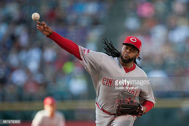 Johnny Cueto of the Cincinnati Reds pitches against the Colorado Rockies in the first inning of a game at Coors Field on July 25 2015 in Denver...