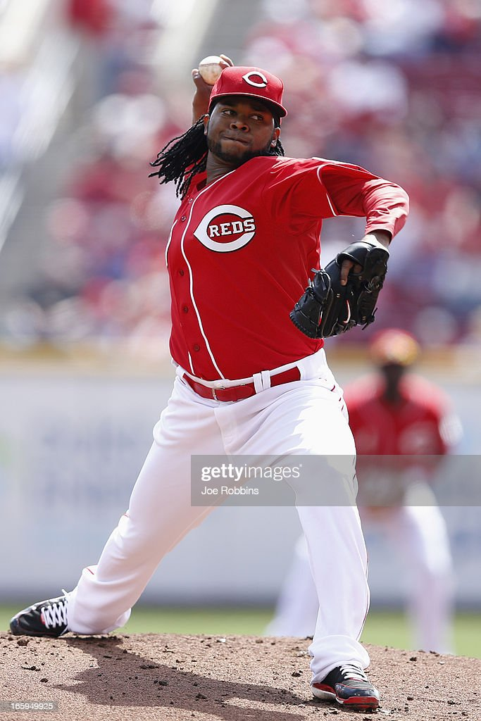 <a gi-track='captionPersonalityLinkClicked' href=/galleries/search?phrase=Johnny+Cueto&family=editorial&specificpeople=4921735 ng-click='$event.stopPropagation()'>Johnny Cueto</a> #47 of the Cincinnati Reds pitches against the Washington Nationals at Great American Ball Park on April 7, 2013 in Cincinnati, Ohio.