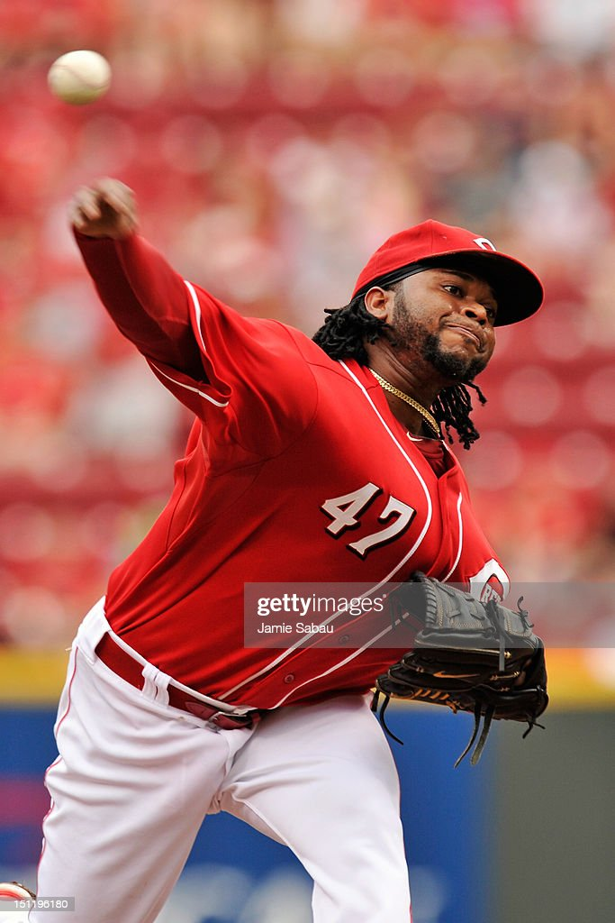 <a gi-track='captionPersonalityLinkClicked' href=/galleries/search?phrase=Johnny+Cueto&family=editorial&specificpeople=4921735 ng-click='$event.stopPropagation()'>Johnny Cueto</a> #47 of the Cincinnati Reds pitches in the first inning against the Philadelphia Phillies at Great American Ball Park on September 3, 2012 in Cincinnati, Ohio.