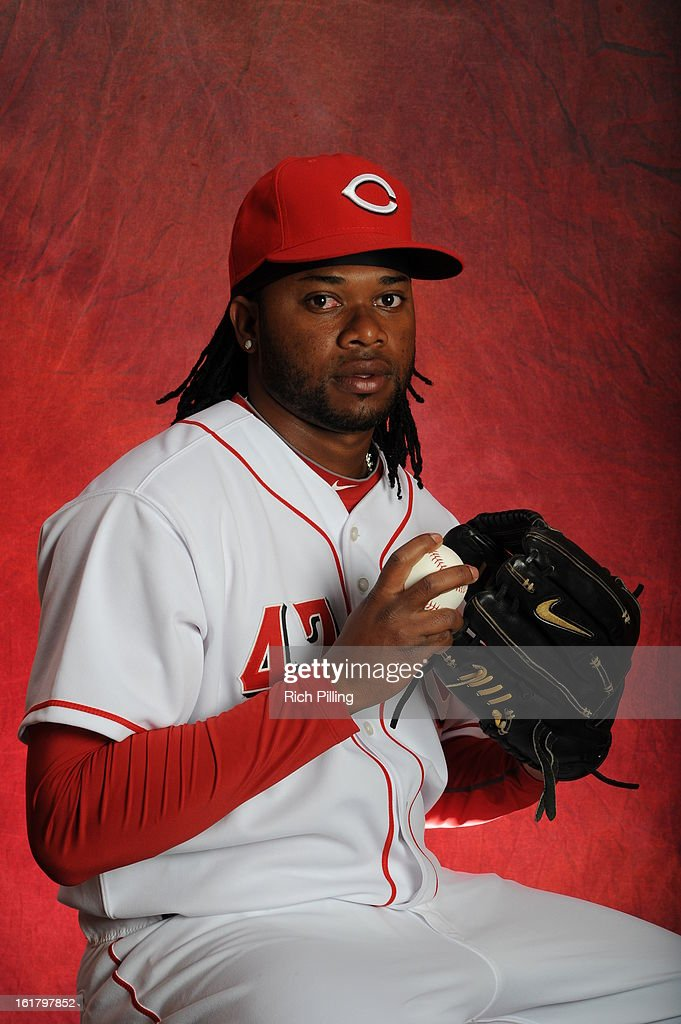 <a gi-track='captionPersonalityLinkClicked' href=/galleries/search?phrase=Johnny+Cueto&family=editorial&specificpeople=4921735 ng-click='$event.stopPropagation()'>Johnny Cueto</a> #47 of the Cincinnati Reds poses during MLB photo day on February 16, 2013 at the Goodyear Ballpark in Goodyear, Arizona.