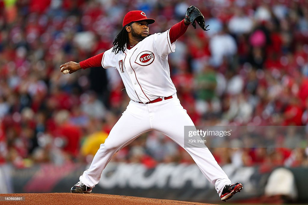 <a gi-track='captionPersonalityLinkClicked' href=/galleries/search?phrase=Johnny+Cueto&family=editorial&specificpeople=4921735 ng-click='$event.stopPropagation()'>Johnny Cueto</a> #47 of the Cincinnati Reds throws a pitch during the game against the New York Mets at Great American Ball Park on September 23, 2013 in Cincinnati, Ohio. (Photo by Kirk Irwin/Getty Images) ~~~