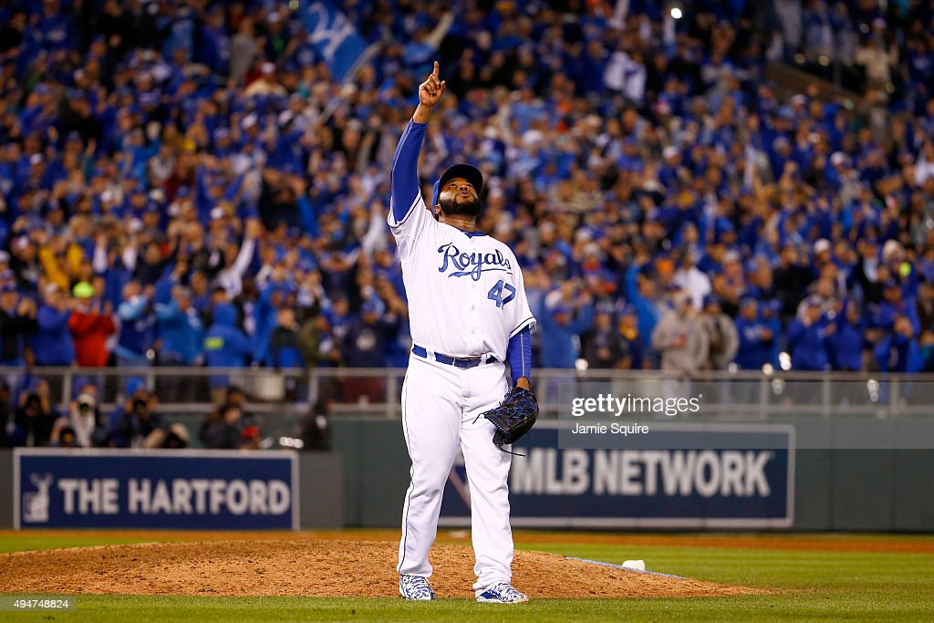 Johnny Cueto #47 of the Kansas City Royals celebrates defeating the New York Mets 7-1 in Game Two of the 2015 World Series at Kauffman Stadium on October 28, 2015 in Kansas City, Missouri.