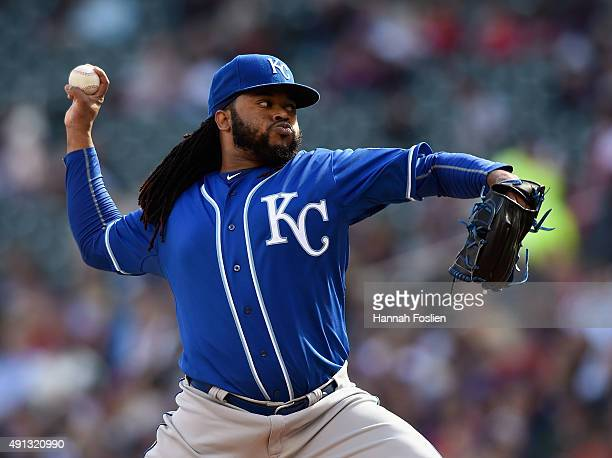 Johnny Cueto of the Kansas City Royals delivers a pitch against the Minnesota Twins during the first inning of the game on October 4 2015 at Target...