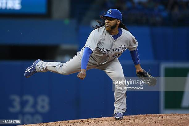 Johnny Cueto of the Kansas City Royals delivers a pitch in the third inning during MLB game action against the Toronto Blue Jays on July 31 2015 at...