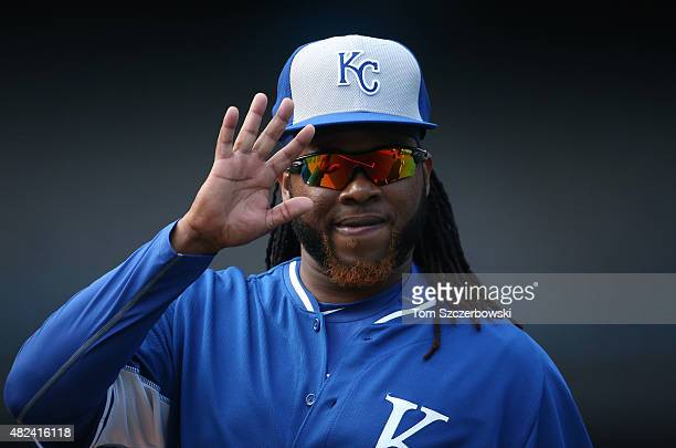 Johnny Cueto of the Kansas City Royals during batting practice before the start of MLB game action against the Toronto Blue Jays on July 30 2015 at...