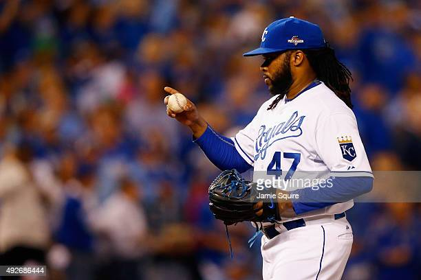 Johnny Cueto of the Kansas City Royals gestures from the pitcher's mound in the first inning against the Houston Astros during game five of the...