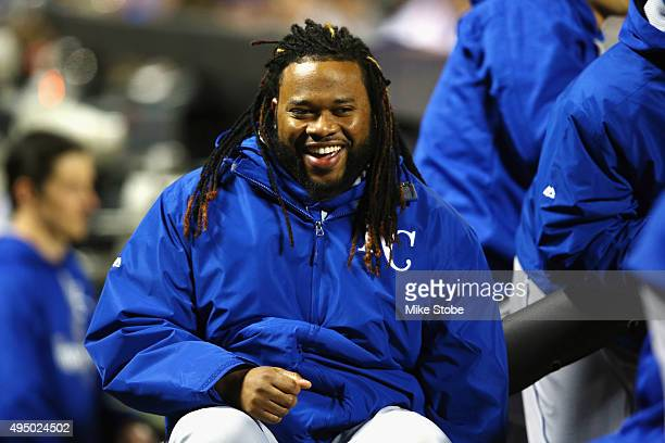 Johnny Cueto of the Kansas City Royals laughs against the New York Mets during Game Three of the 2015 World Series at Citi Field on October 30 2015...