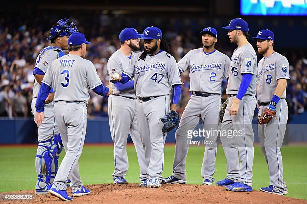 Johnny Cueto of the Kansas City Royals leaves the game in the third inning against the Toronto Blue Jays during game three of the American League...