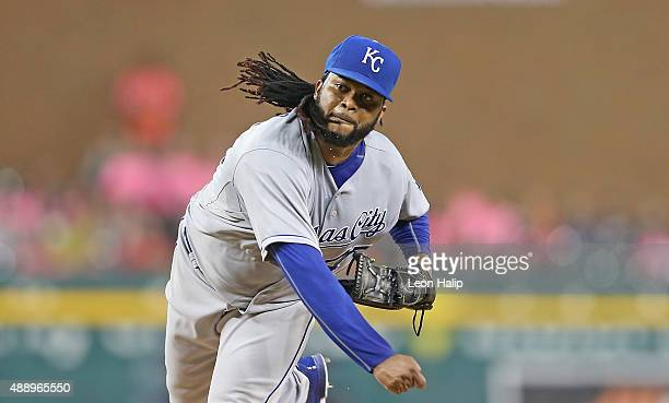 Johnny Cueto of the Kansas City Royals pitches during the third inning of the game against the Detroit Tigers on September 18 2015 at Comerica Park...