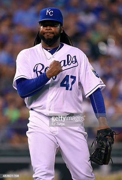 Johnny Cueto of the Kansas City Royals pumps his first after striking out Alex Avila of the Detroit Tigers in the fifth inning at Kauffman Stadium on...