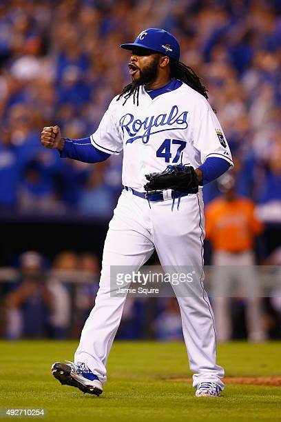 Johnny Cueto of the Kansas City Royals reacts after retiring the side to end the seventh inning against the Houston Astros during game five of the...