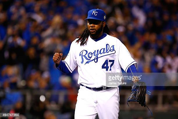 Johnny Cueto of the Kansas City Royals reacts after retiring the side in the seventh inning against the New York Mets in Game Two of the 2015 World...
