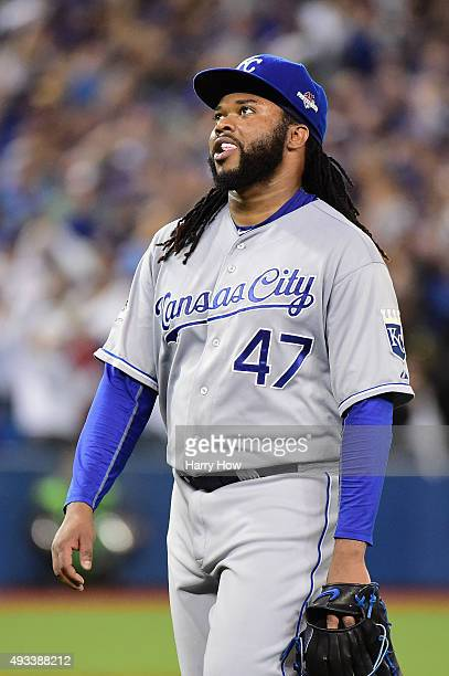 Johnny Cueto of the Kansas City Royals reacts as he leaves the game in the third inning against the Toronto Blue Jays during game three of the...