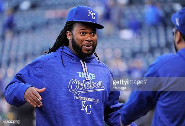 Johnny Cueto of the Kansas City Royals reacts prior to game one of the American League Championship Series between the Kansas City Royals and the...