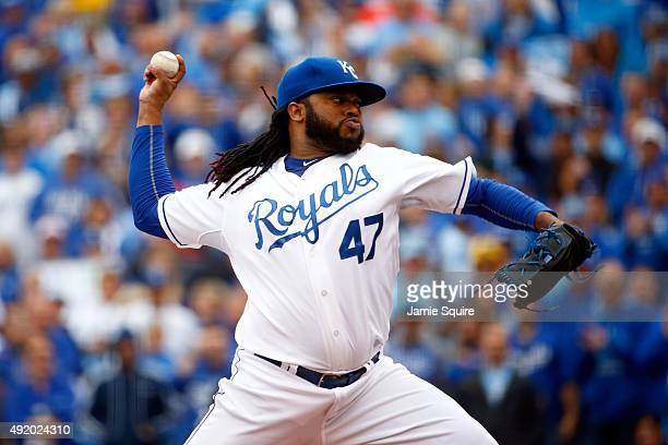 Johnny Cueto of the Kansas City Royals throws a pitch in the first inning against the Houston Astros during game two of the American League Division...