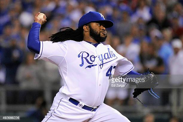 Johnny Cueto of the Kansas City Royals throws a pitch in the first inning against the Houston Astros during game five of the American League Divison...