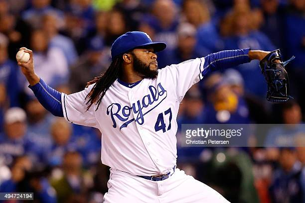 Johnny Cueto of the Kansas City Royals throws a pitch in the first inning against the New York Mets in Game Two of the 2015 World Series at Kauffman...