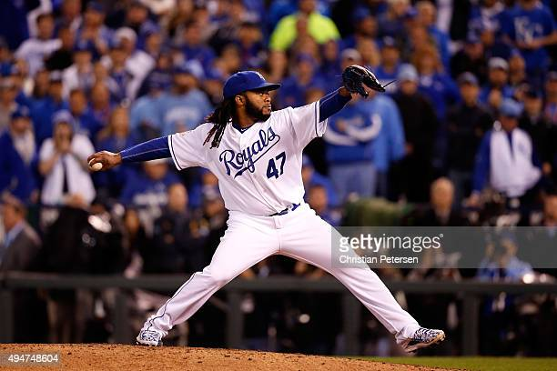 Johnny Cueto of the Kansas City Royals throws a pitch in the ninth inning against the New York Mets in Game Two of the 2015 World Series at Kauffman...