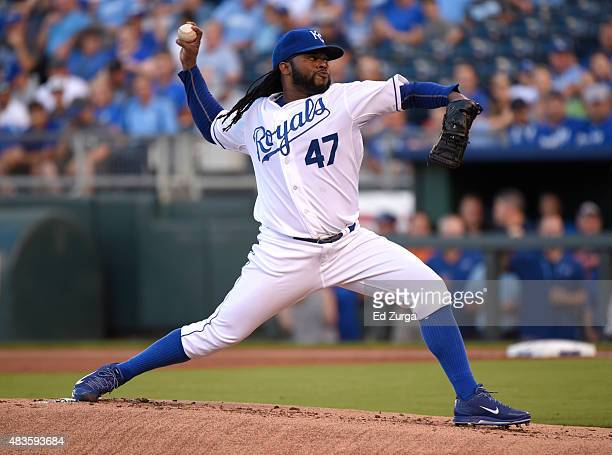 Johnny Cueto of the Kansas City Royals throws in the first inning against the Detroit Tigers at Kauffman Stadium on August 10 2015 in Kansas City...
