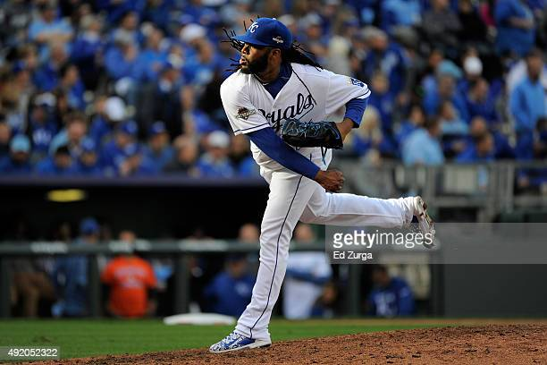 Johnny Cueto of the Kansas City Royals warms up in the sixth inning against the Houston Astros during game two of the American League Division Series...